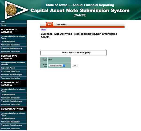 screen shot of Capital Assets not depreciated/amortized