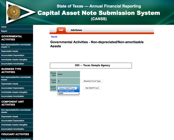 screen shot of Generally accepted accounting principles fund reporting