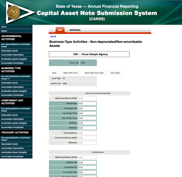 screen shot of data entry for Generally accepted accounting principles fund reporting