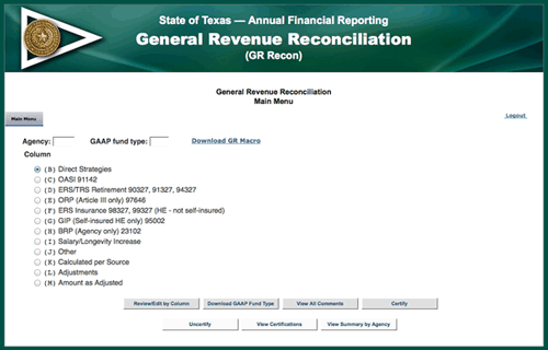 Screenshot of General Revenue Reconciliation Webpage