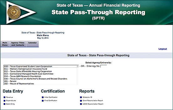 screenshot of State Pass-Through Reporting main menu
